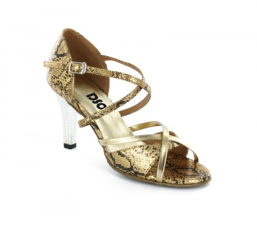 Black & gold leather with Suede sole Sandal  LS174004