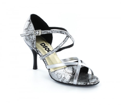 Black & Silver leather with Suede sole Sandal  LS174005