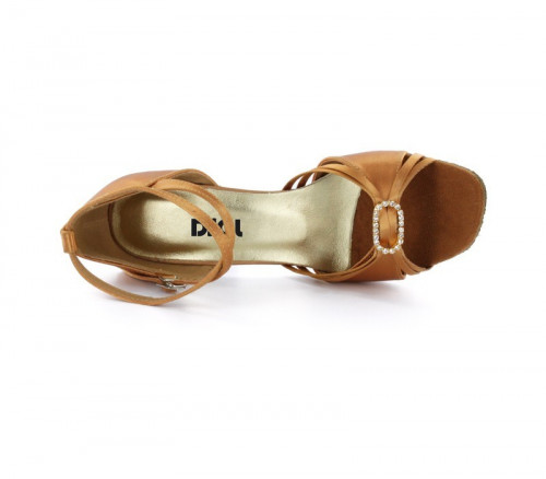 Tan Satin Sandal with Width-Adjusted Buckle LS174101