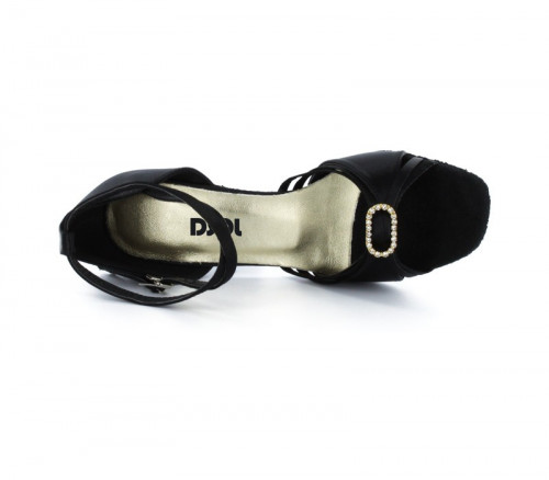 Black Satin Sandal with Width-Adjusted Buckle LS174102