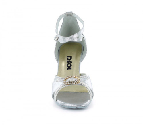 Silver satin & silver sparkle with suede sole Sandal  LS174104