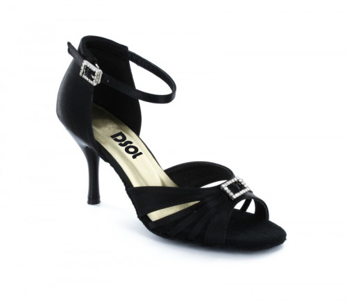 Black Satin Sandal  with Width-Adjusted Buckle LS174201