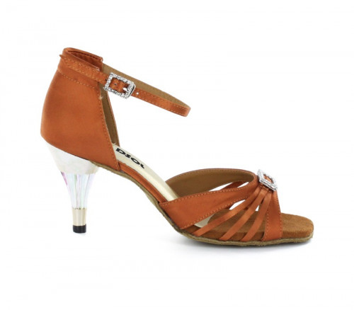 Brown Satin Sandal  with Width-Adjusted Buckle LS174202