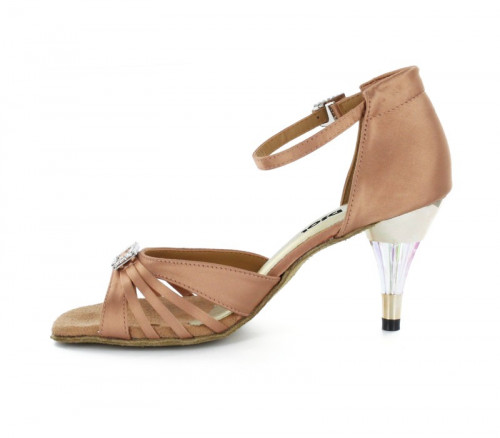 Flesh Satin Sandal with Width-Adjusted Buckle LS174204