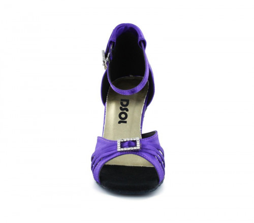 Purple Satin Sandal with Width-Adjusted Buckle LS174205