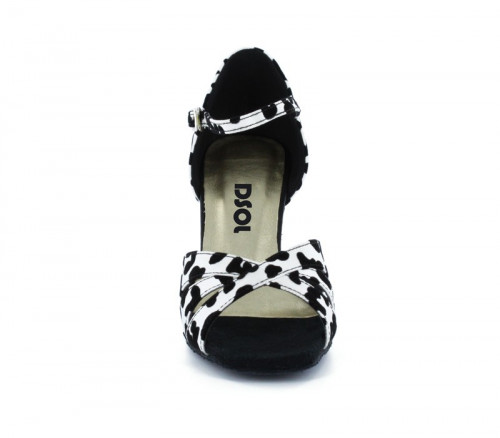 Black & white satin with Suede sole Sandal  LS174301