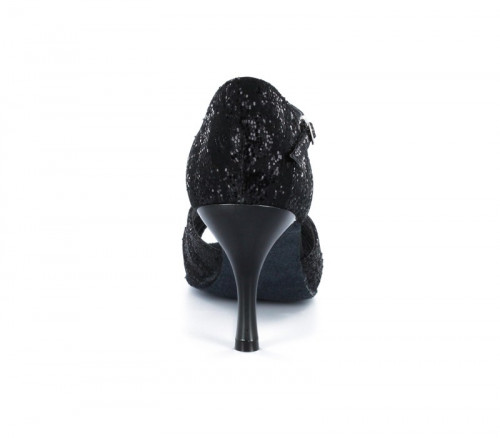 Black satin with glitter Sandal  LS174302