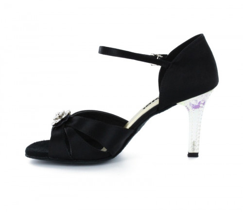 Black Satin Sandal with  LS174402