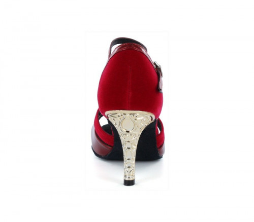 Red velvet with dark red patent strap Sandal  LS174802