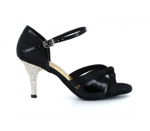 Black satin & patent with suede sole Sandal  LS174803
