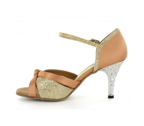 Tan satin & gold sparkle with suede sole Sandal  LS174805