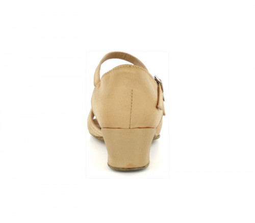 Flesh Satin Sandal with Width-Adjusted Buckle LS175002