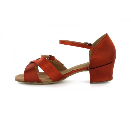 Orange Satin Sandal with Width-Adjusted Buckle LS175003
