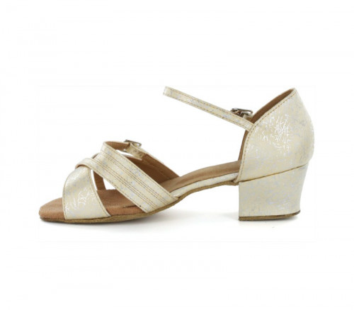 Yellow & Silver Patent Sandal with Width-Adjusted Buckle LS175004