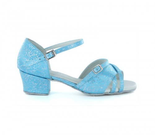 Blue & Silver Patent Sandal with Width-Adjusted Buckle LS175005