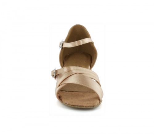 Flesh Satin Sandal with Width-Adjusted Buckle LS175006