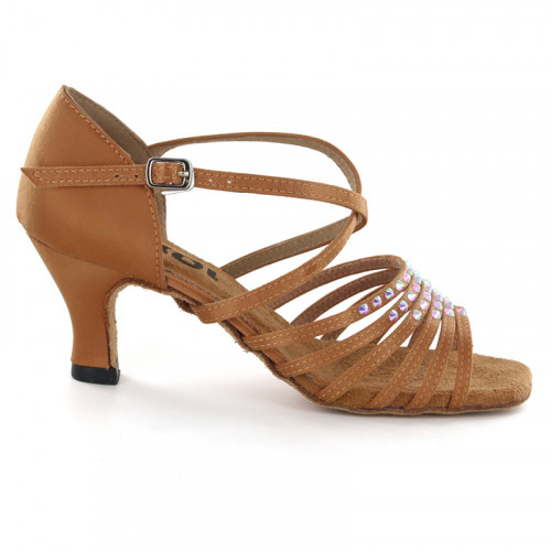 Light Tan Satin with rhinestones Sandal 175401
