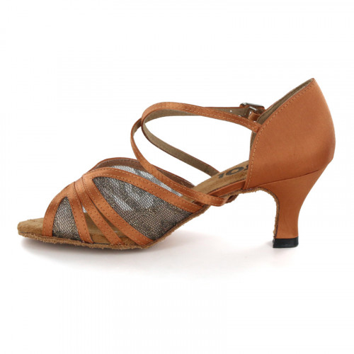 Brown Satin with Mesh Sandal 178302