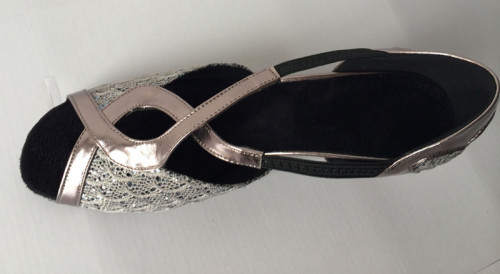 Grey Sparkling Fabric & Patent Sandal adls284701