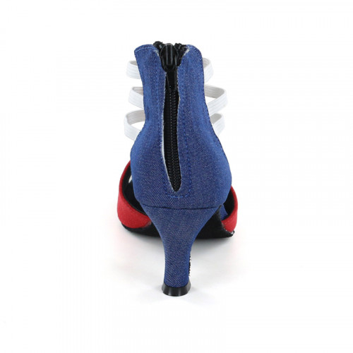Red Velvet & Blue Denim Strappy Sandal adls285202