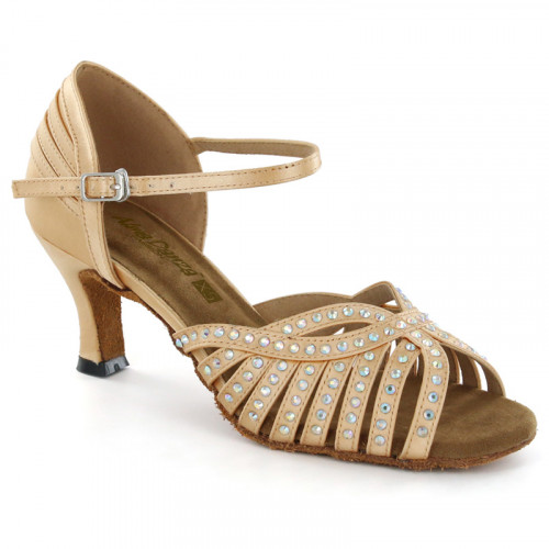Light Tan Satin with Rhinestones Sandal adls285902