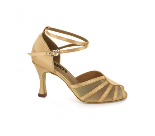 Tan satin & mesh Close-toe  LS601804