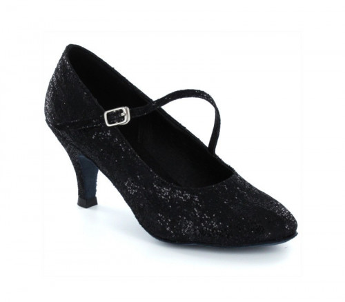 Black satin & sequins Pump  LP685207