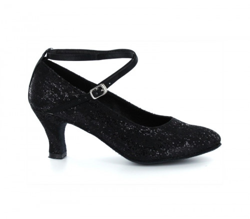 Black satin & sequins Pump  LP685304