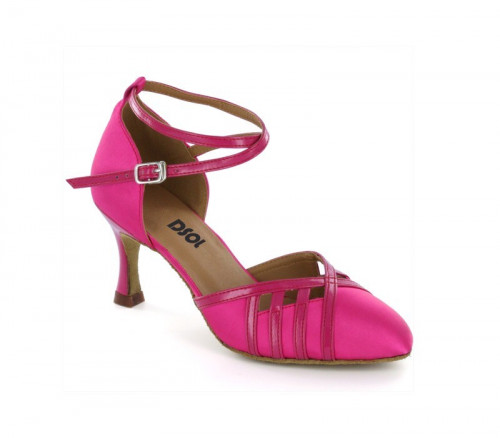 Hot pink satin & Patent trim Pump  LP685705