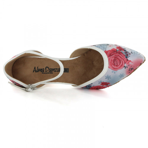 Floral Satin & White PU Pumps adlp791201