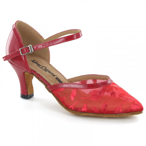 Red Patent Leather & Mesh Pumps adlp791207