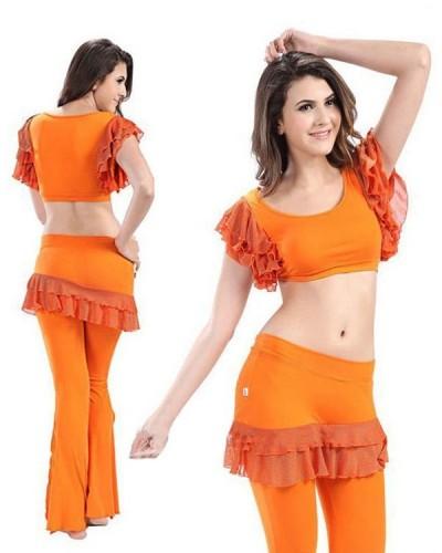 6584cf77e29 Orange Micro Fiber & Lace 2-Piece Set Belly Dress BED-PS2004-02