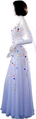 White Blue Lycra & Chiffon Dress  SZ-HYJ-B074