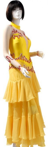 Yellow Blue Lycra & Chiffon Dress  SZ-HYJ-B096