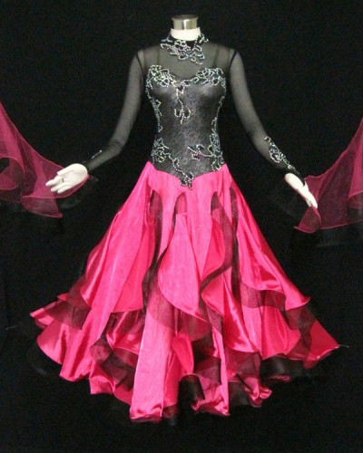 Black Lace &Hot Pink Silk Fabric Dress  SZ-HYJ-B1099